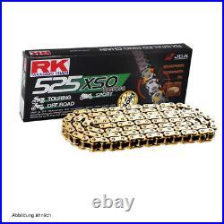 Kit Chaîne Honda XRV 750 Africa Twin 93-01 Chaîne RK GB 525 Xso 124 Ouvrir Or